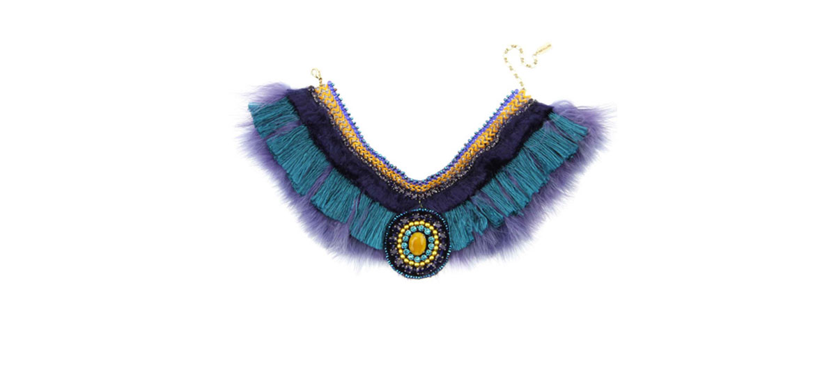 Collier de plumes bleues Satellite