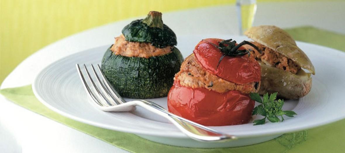 Petits Farcis de courgettesaubergines  tomates poivrons et pommes de terre du Chef Alain Ducasse