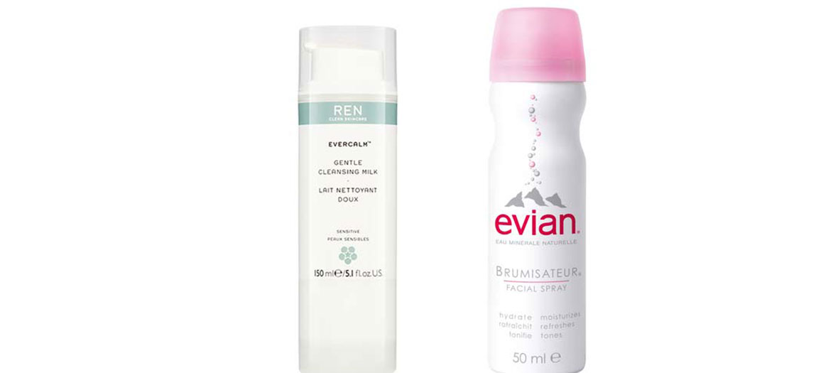 Skincare Evercalm and water spray Evian