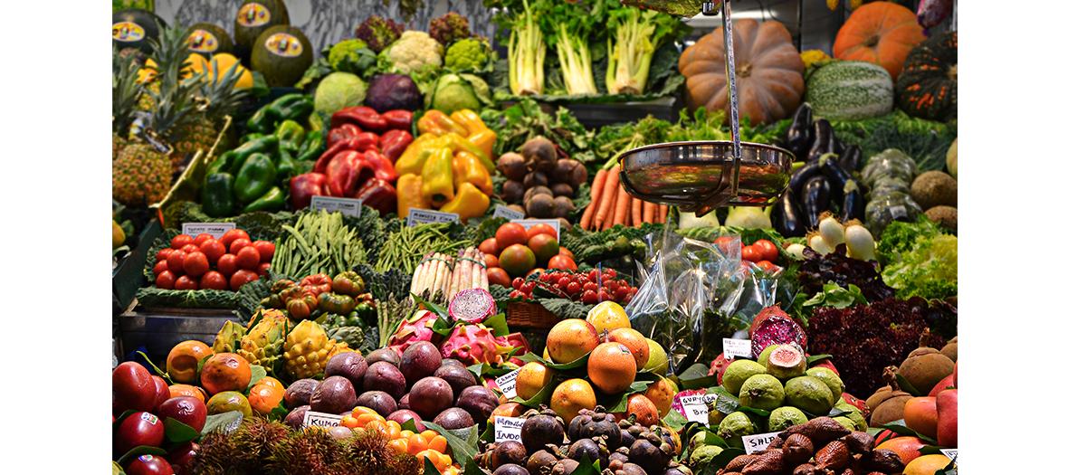 Etalage de fruits et de légumes