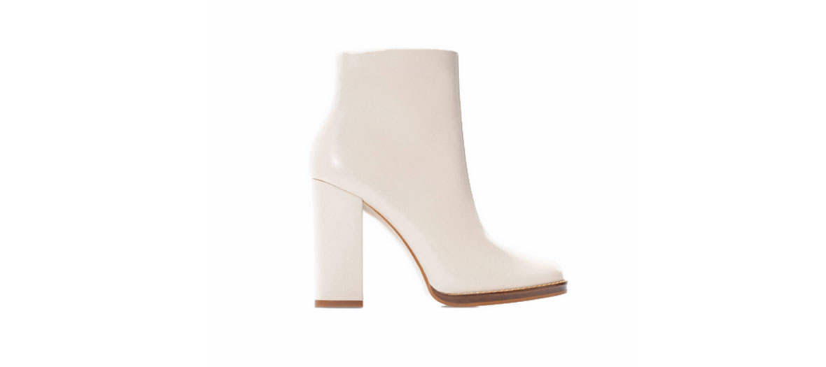 Bottines blanches à talons Zara