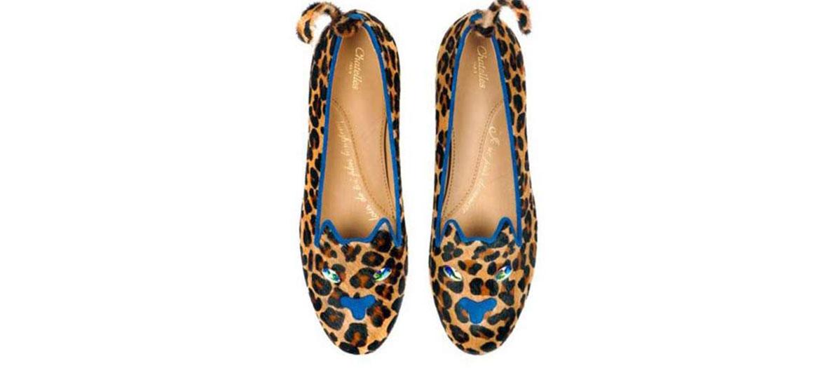 Ballerines en fourrure léopard Chatelles