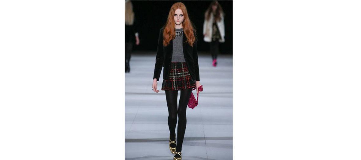 Shetland pullover, velvet jacket and kilt skirt Yves Saint Laurent