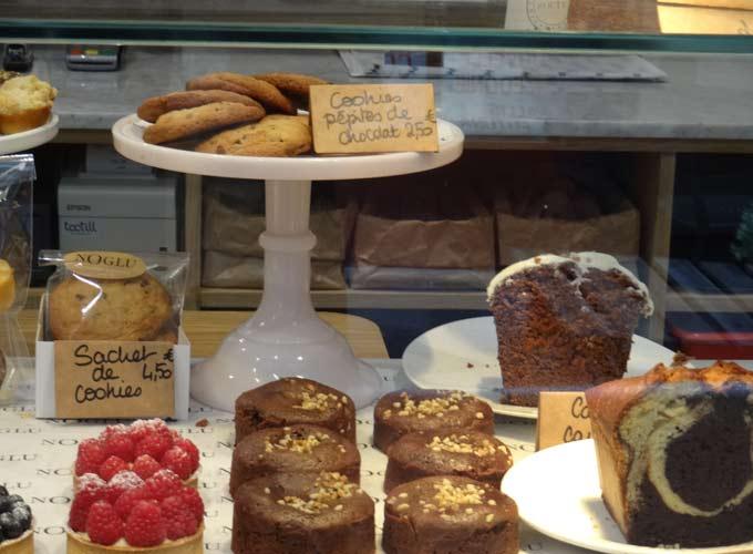 raspberry tartlets, madeleines, chocolate cake, butter bread from Noglu restaurant