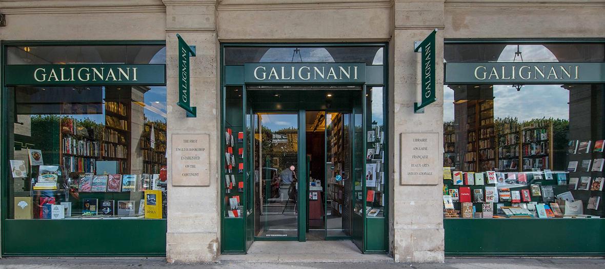 Storefront of Galignani bookstore