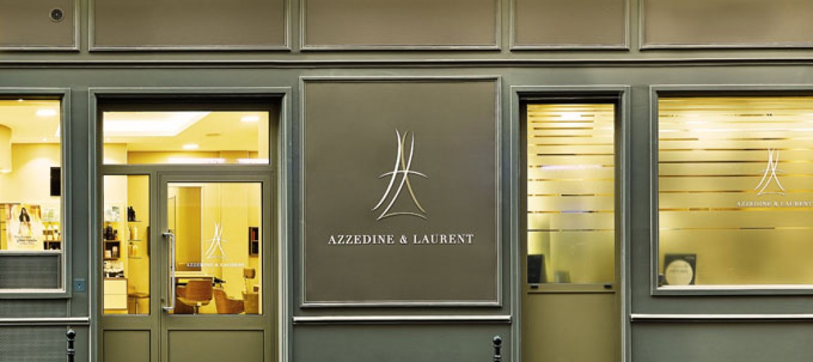Front outside facade of Azzedine & Laurent hairdresser in Paris