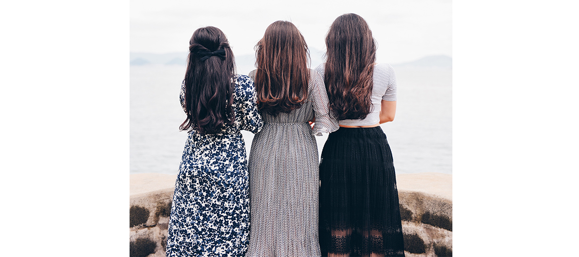 Three women with long hair