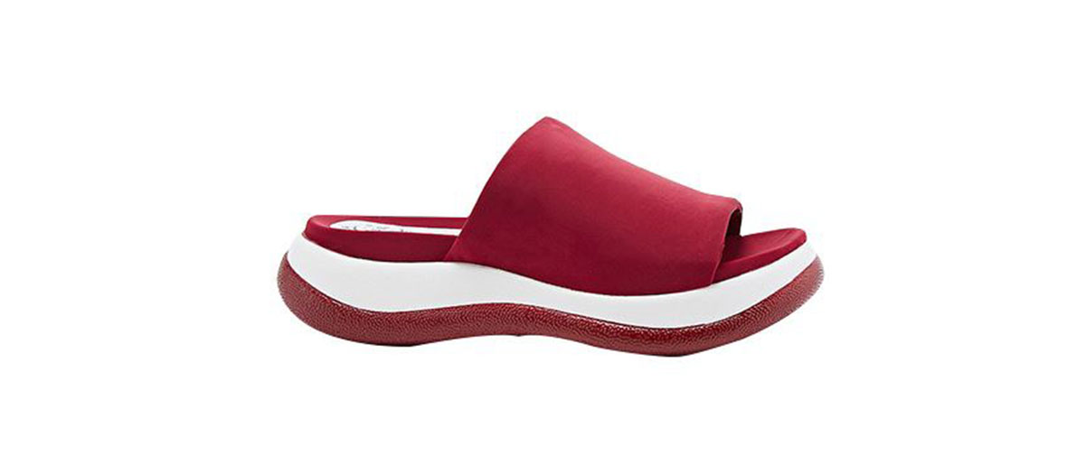 white and red summer shoes by Jeffrey Campbell