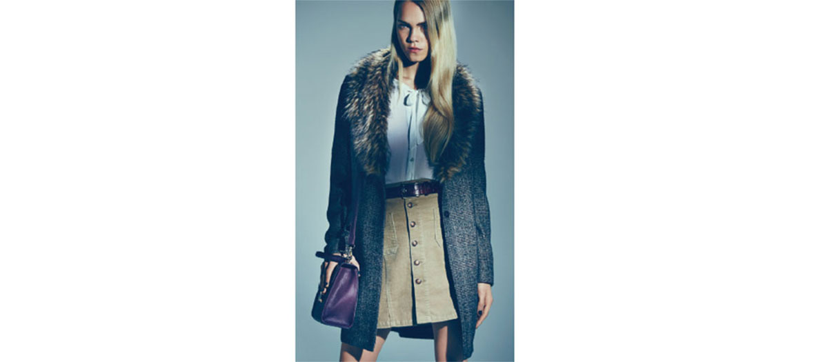 Coat with faux-fur collar New Look