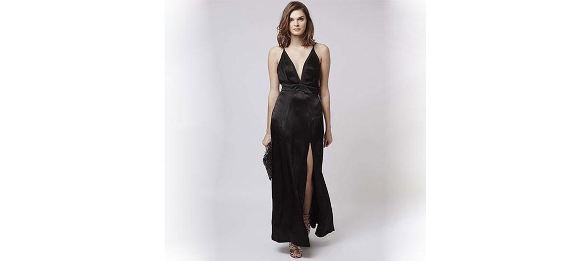 Robe noire plongeante et fendue Topshop