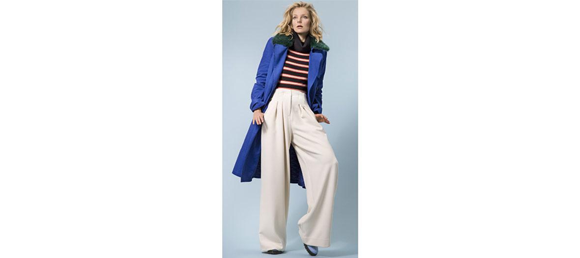 pantalon ample taille haute polyester Essentiel