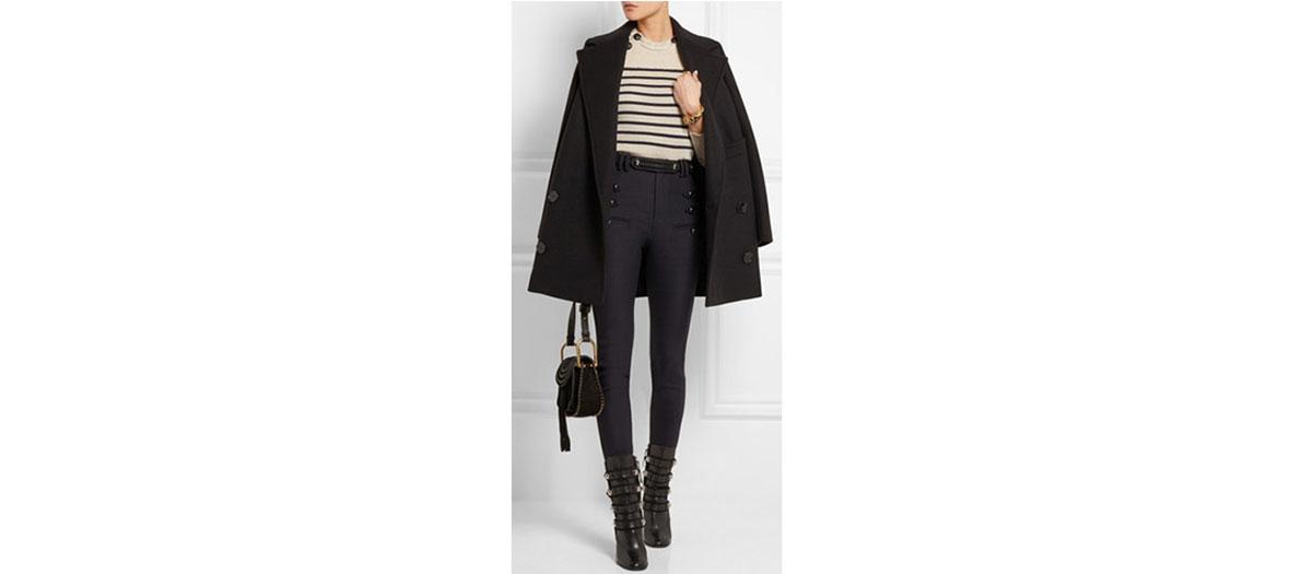 pantalon taille haute en crêpe de coton Isabel Marant