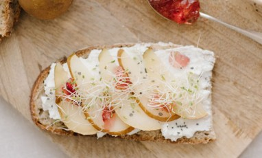 An ultra sexy goat cheese tartine with rose