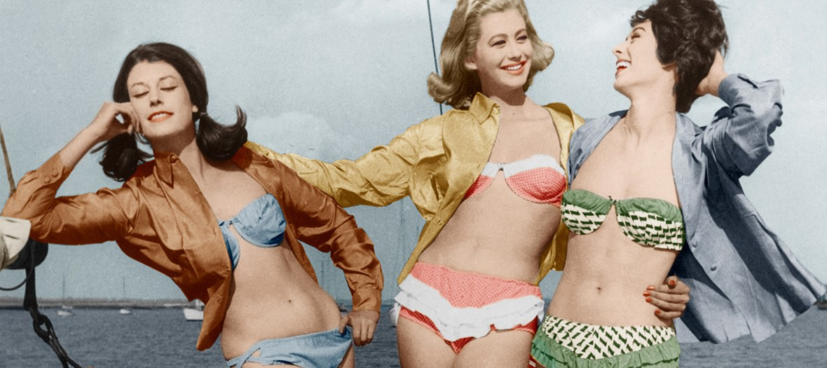 vintage photo of 3 girls in bikini