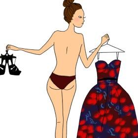 Illustration d'une fille tenant chaussures et robe