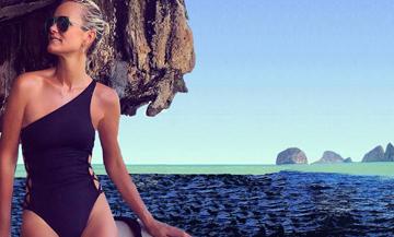 Laetitia Hallyday on the beach