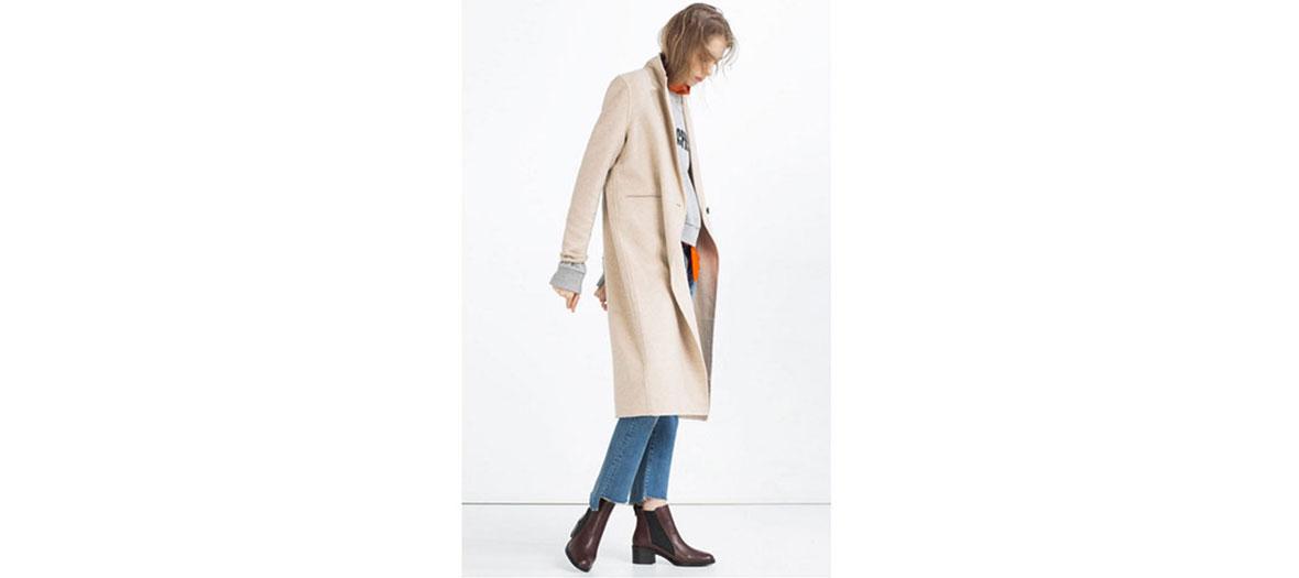 Pink woolen coat Zara