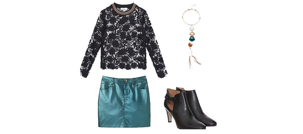 Lace top, miniskirt, crewneck and leather boots
