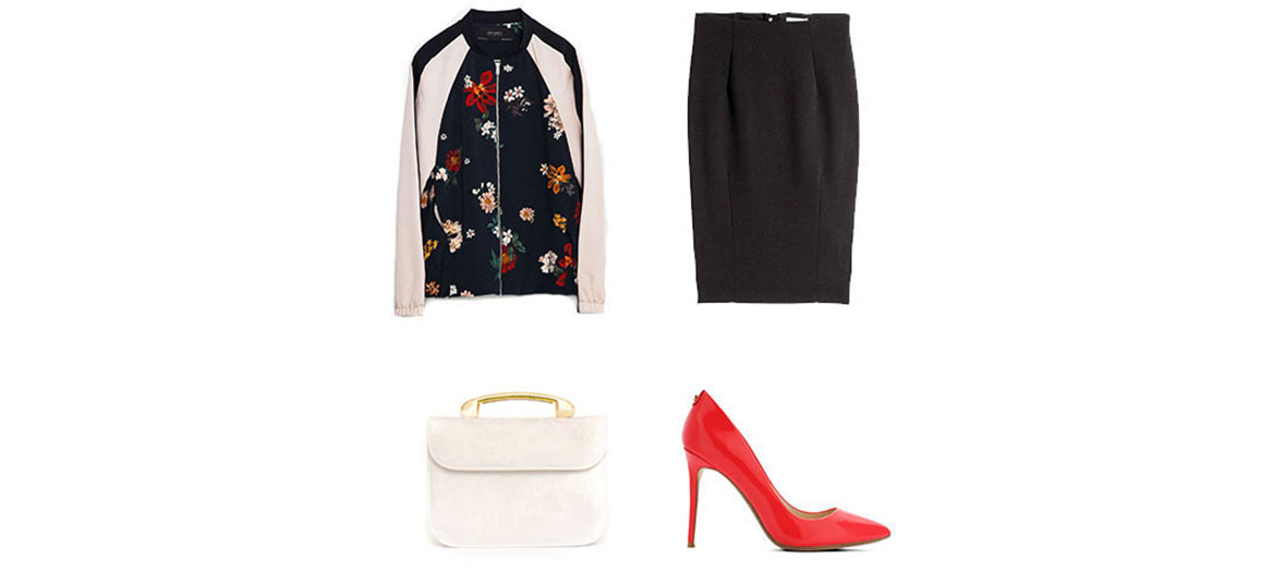 Floral bomber, pencil skirt, leather bag, and patent leather pumps