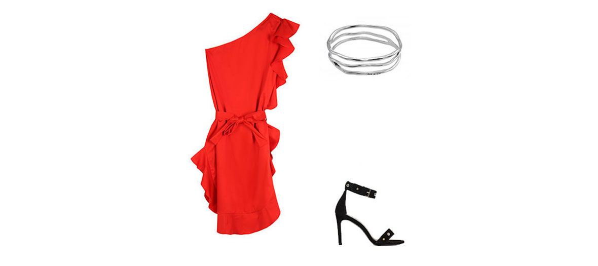 Robe rouge, sandales end aim et brocelet jonc tenue