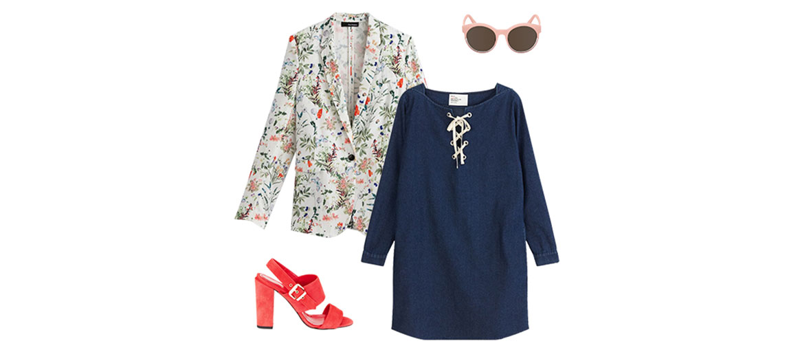 Pink sunglasses, denim dress, fluid jacket outfit