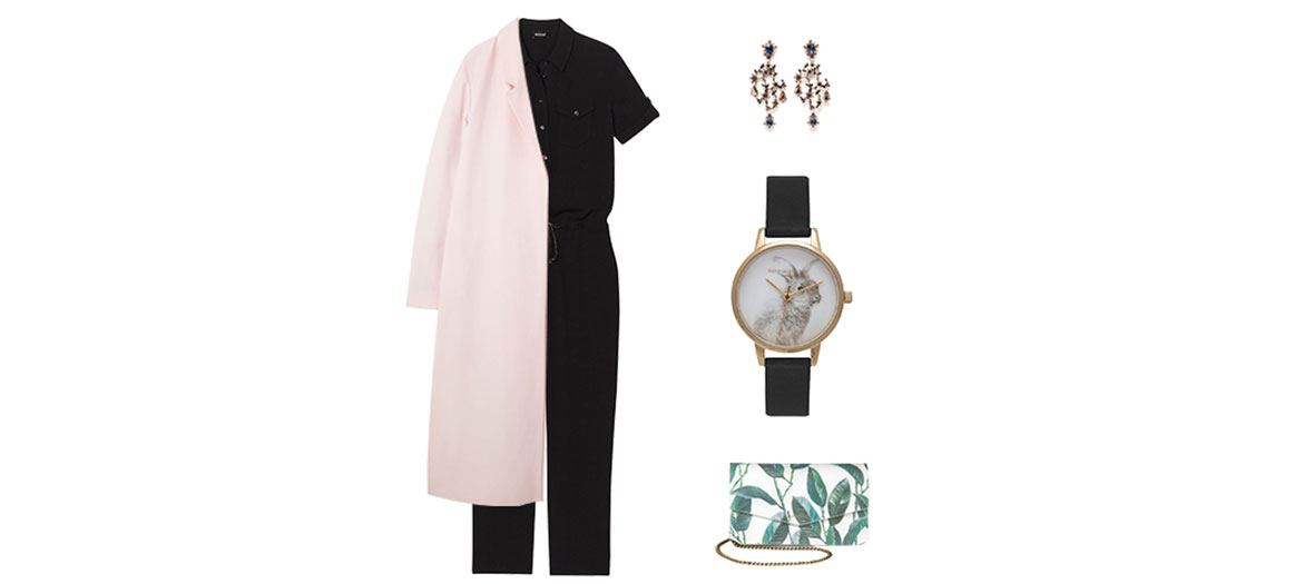 Suit, earrings, pink coat and rabbit watch outfit