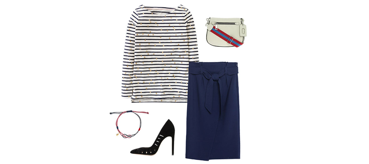 Sailor top, shoulder bag, bracelet and tube skirt outfit