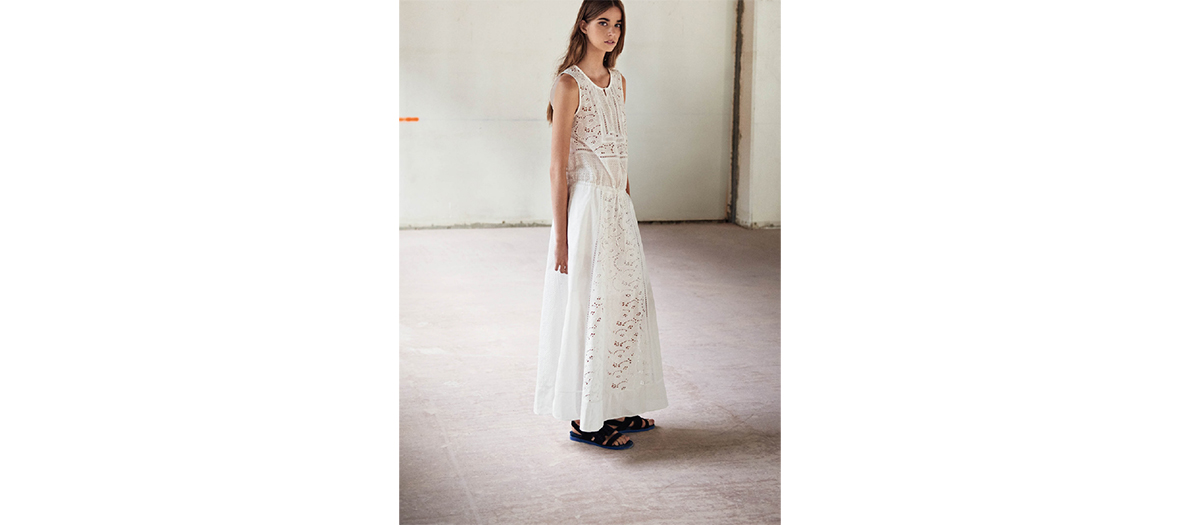 Long dress with English embroidery Comptoir des Cotonniers