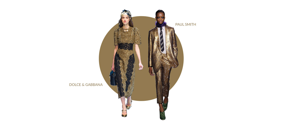 Two Models who showing for Paul Smith and Dolce & Gabanna wearing a shining dress and suit