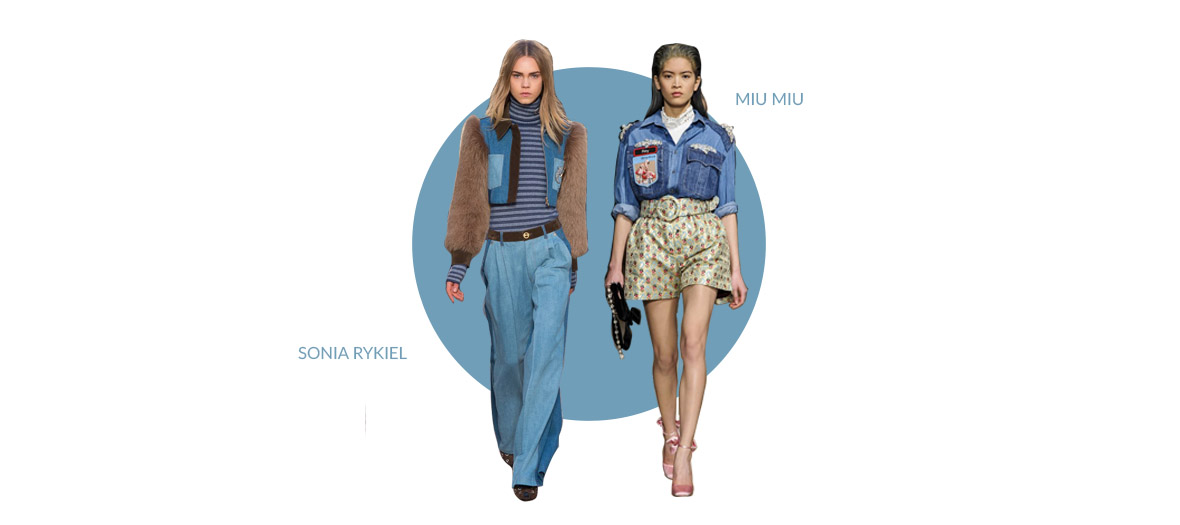 Two models who showing for Miu Miu and Sonia Kykiel wearing a jean and a jean jacket