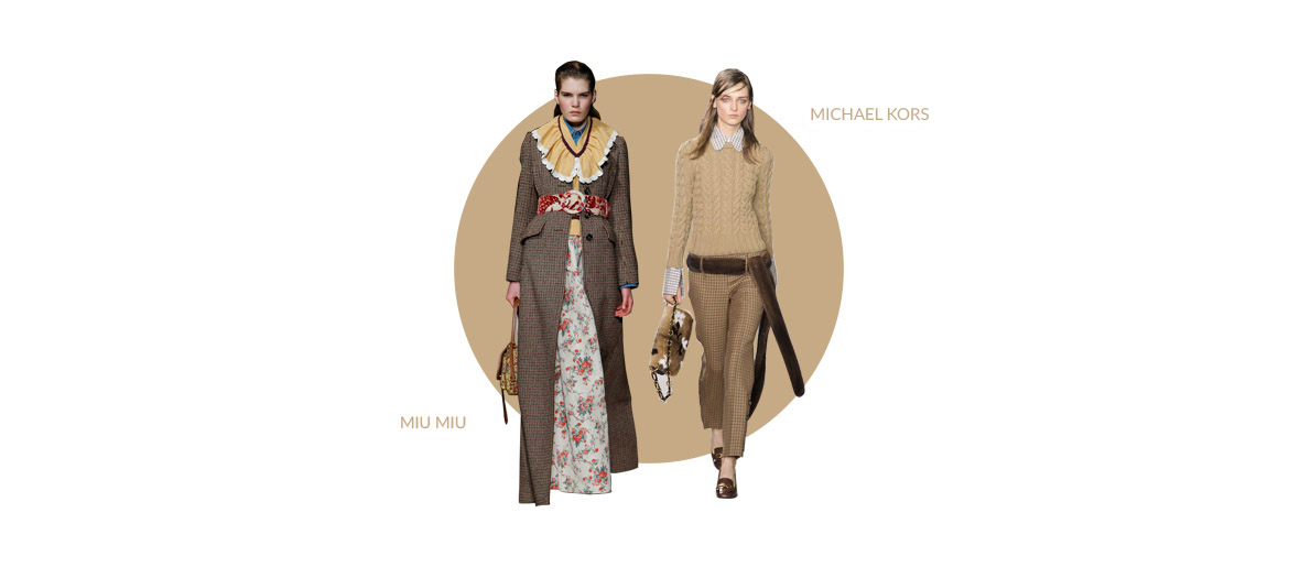 two models showing for Michael Kors and Miu Miu wearing a long coat and a pull and a short pant