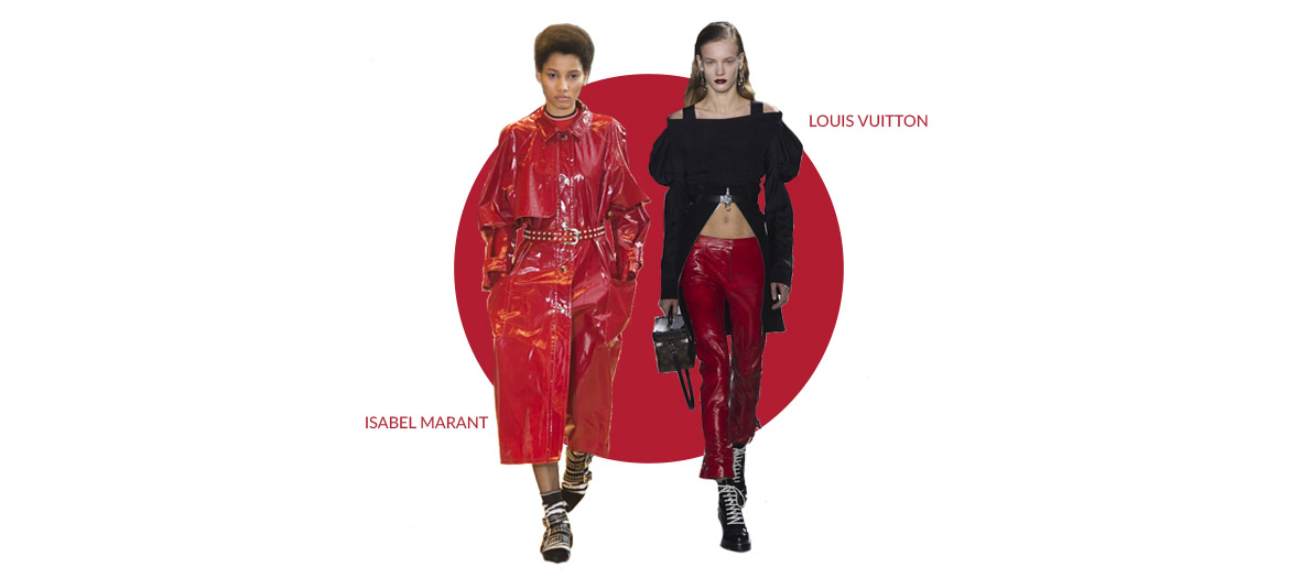 Two models showing for Louis Vuitton and Isabelle Marant wearing a red vinyle coat and a cook red pants