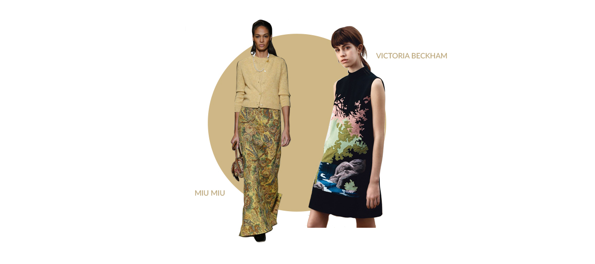 Two models who showing for Victoria Beckham and Miu Miu wearing a tapestry skirt and dress