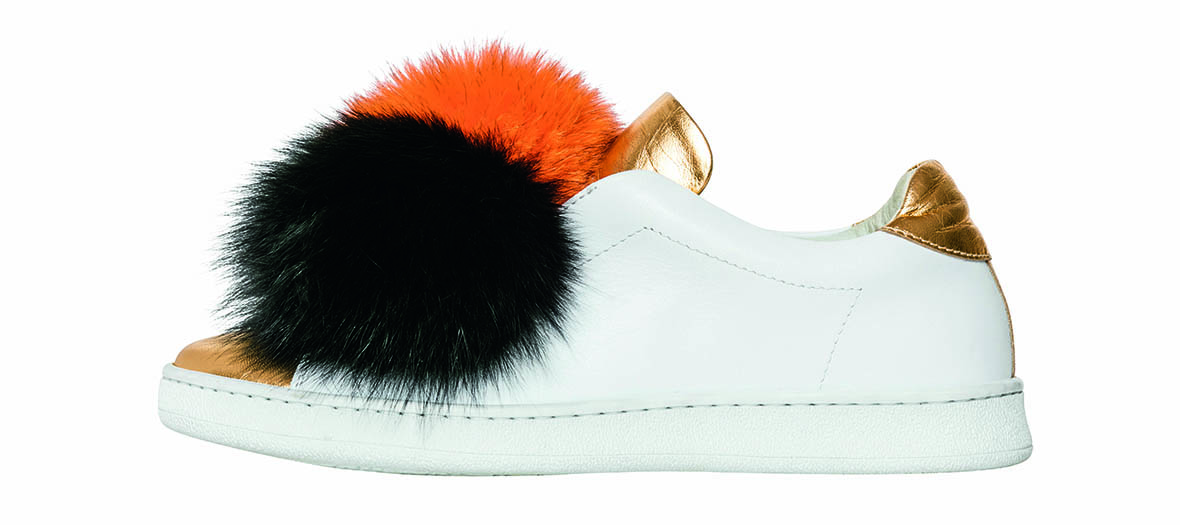 leather sneaker with fur pompons Joshua Sanders