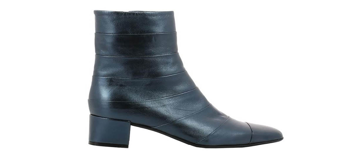 metallic blue oherty booties carel