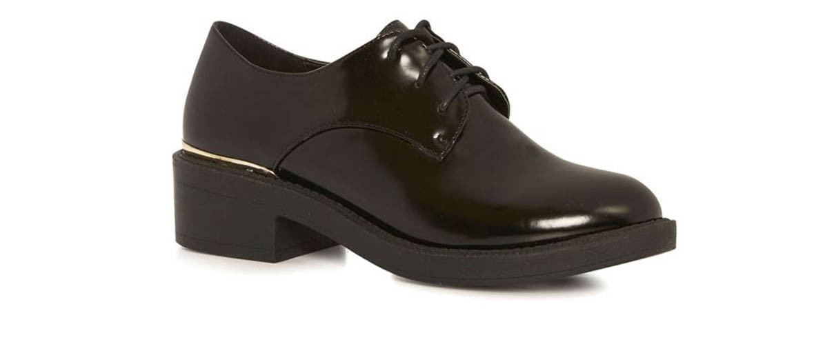 black leather derbies primark