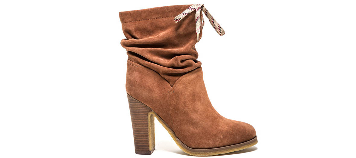 bottines cuir suede camel