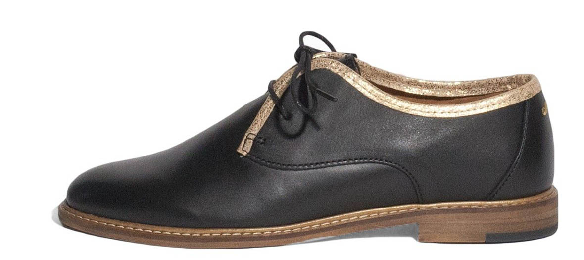black derbies with gold piping M. Moustache