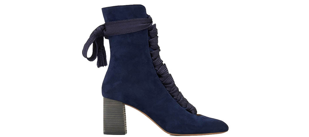 blue booties in suede chloe