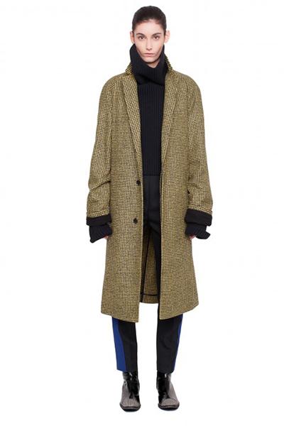 Manteau en laine et alpaga mélangés à motif pied-de-poule
