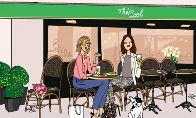 Drawing of two girls at the The Cool terrasse in Passy Paris