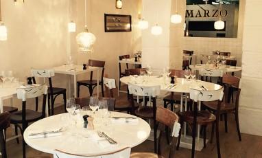 Interior of the Marzo restaurant