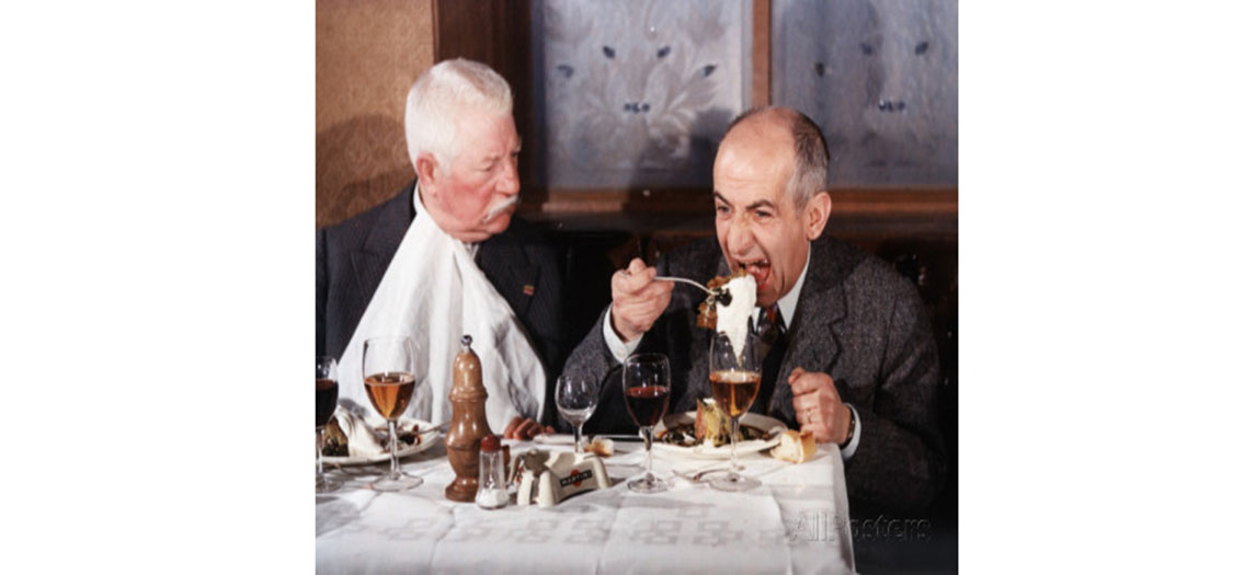 louis de funes et jean gabin a table