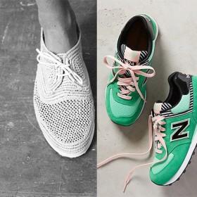 Basket en raffia blanche Robert Clergerie et New Balance Vert