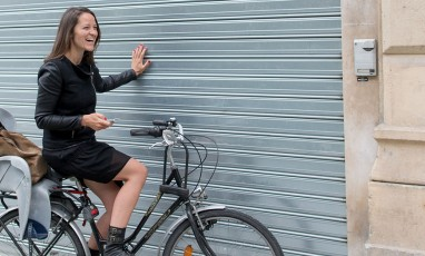 Julie from Wipplay on her bicycle