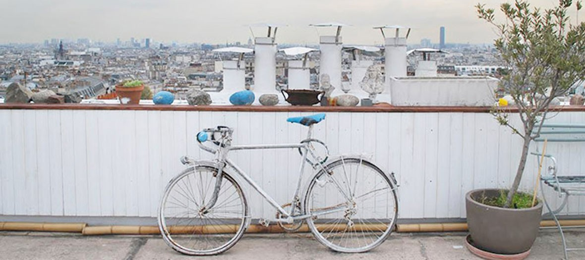 Bicycle on a roof top