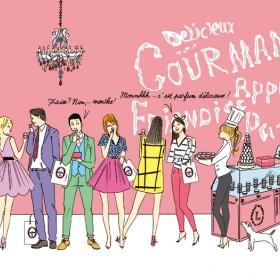 Illustration représentant des personnes dans le pop up Ladurée