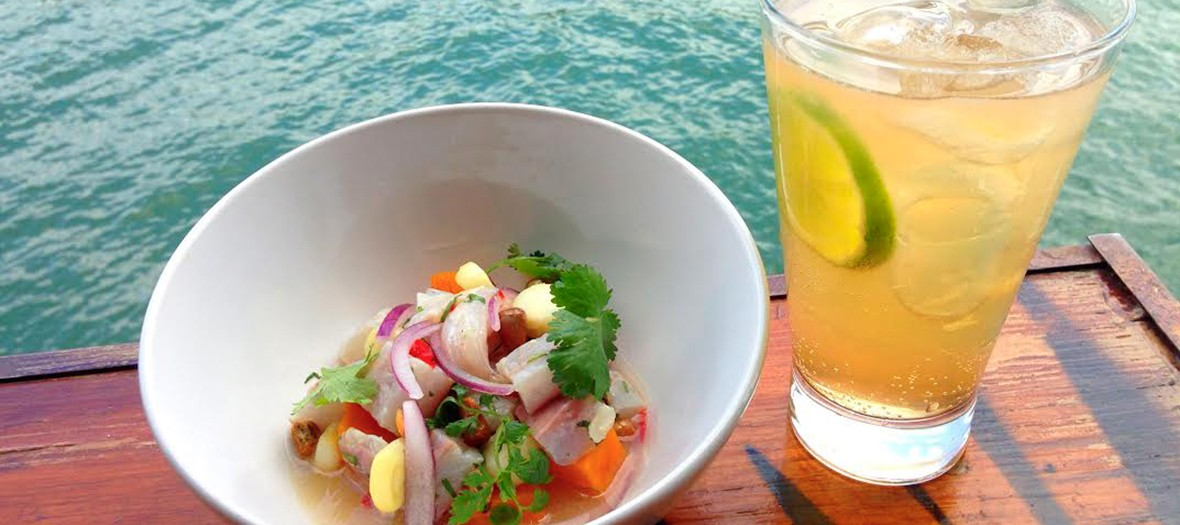 Ceviche bowl and gaz drink