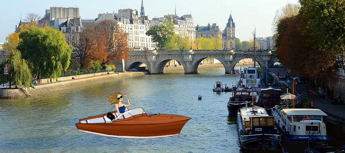 a girl riding a boat the the ile de la cite