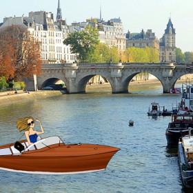 montage avec illustration d'une fille faisant du bateau à l'ile de la cité